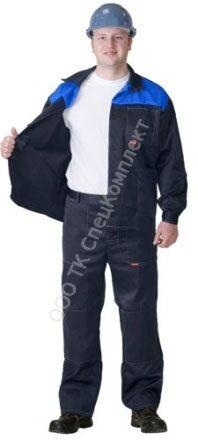 bc18e4fe217b Костюм Труд : куртка длин., брюки темно-синий с васильковым
